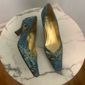 J. Renee Faux Snake Skin Blue Pumps Size 7.5 B